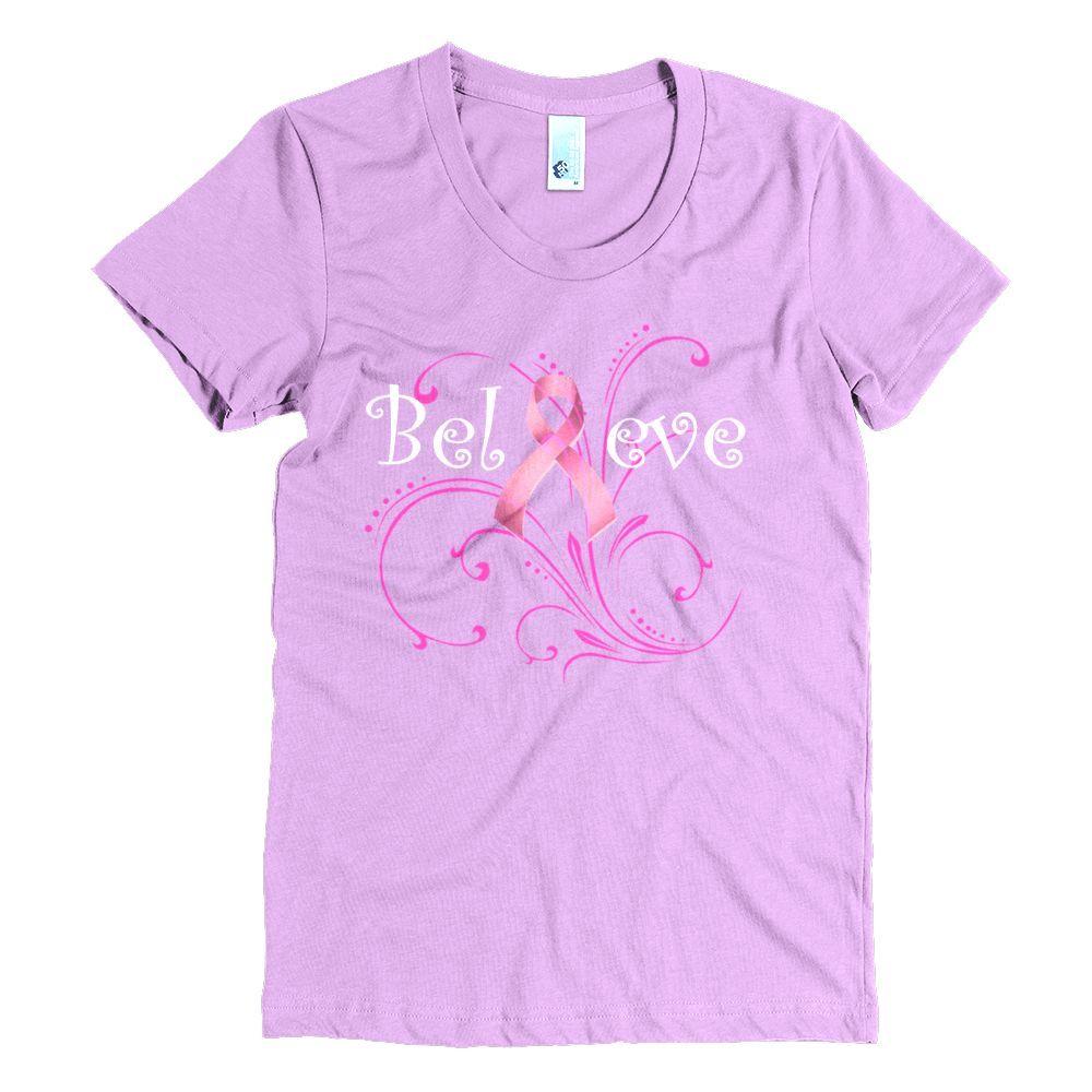 Women's Believe Breast Cancer Awareness 50/50 T-shirt