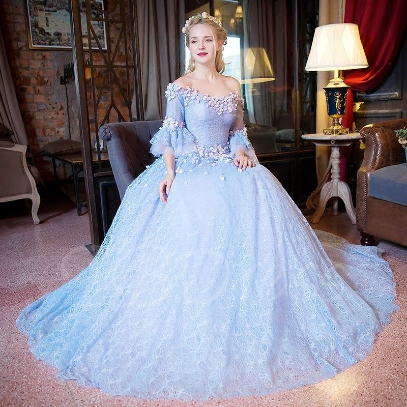 Celtic Wedding Dresses White Pale Blue Medieval Bridal: Off-the-Shoulder Ball Gown 3/4 Length Sleeves Lace