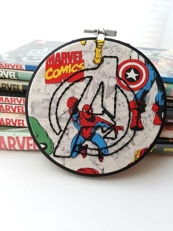 Avengers Symbol Hand Embroidery With 5 Hand Painted Wooden Hoop