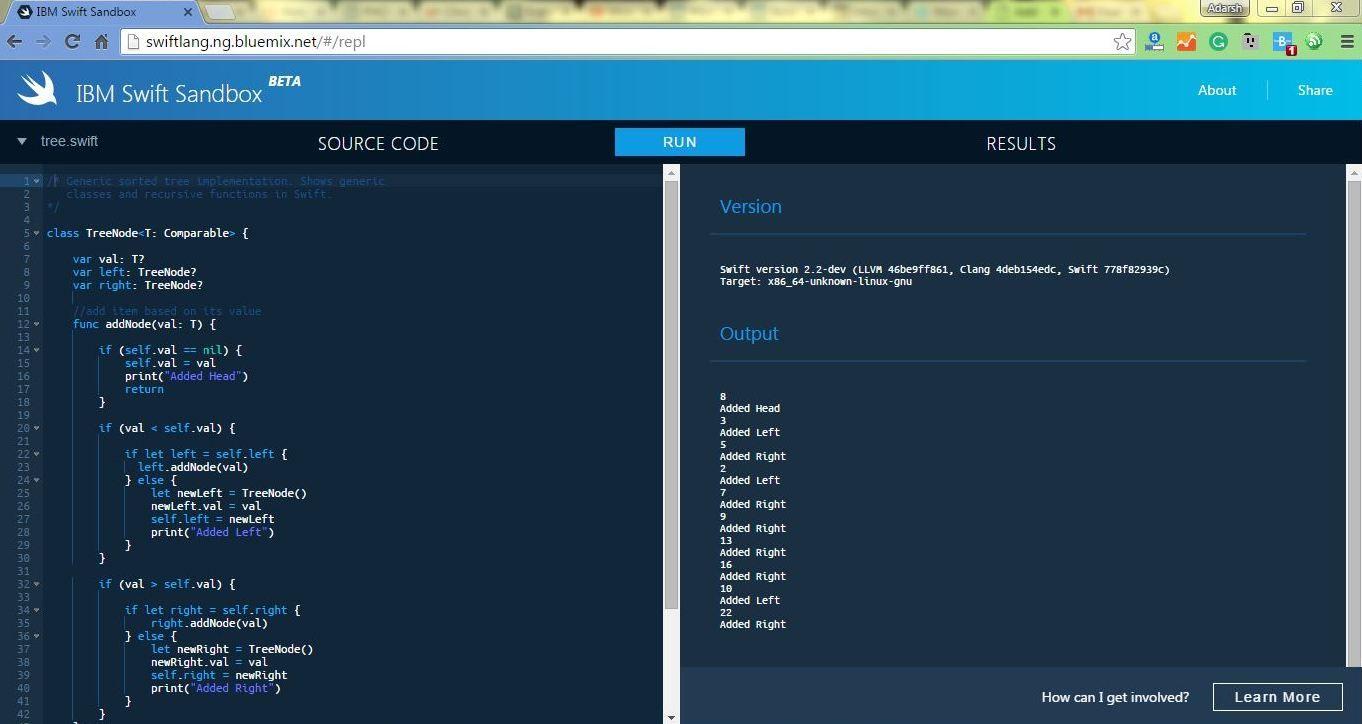 Now Run Apples Swift Programming Language Online In IBM