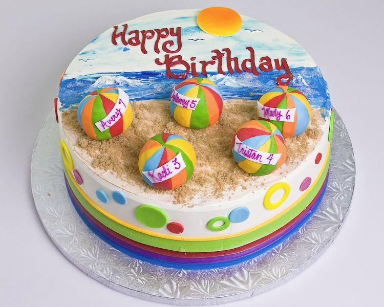 Beach Ball Cake With Images Ocean Cakes Cupcake Birthday Cake