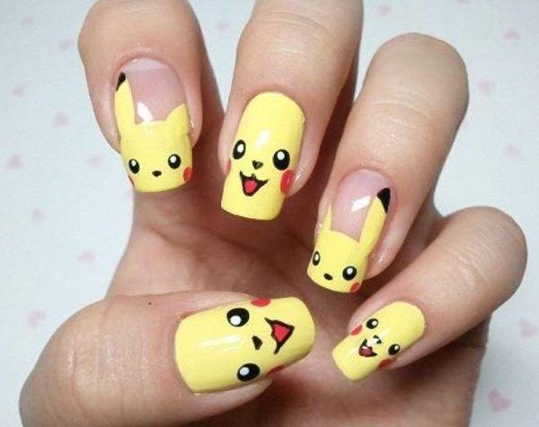 40+ Cute Nail Designs | Pokemon picachu