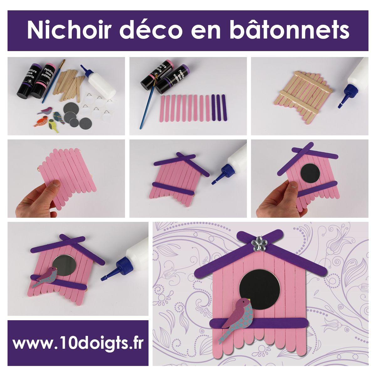 nichoir d co avec b tonnets en bois activit s enfantines bricolages pour enfants pinterest. Black Bedroom Furniture Sets. Home Design Ideas