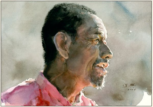 Tricks guan weixing watercolors art portrait and for Aquarelliste chinois