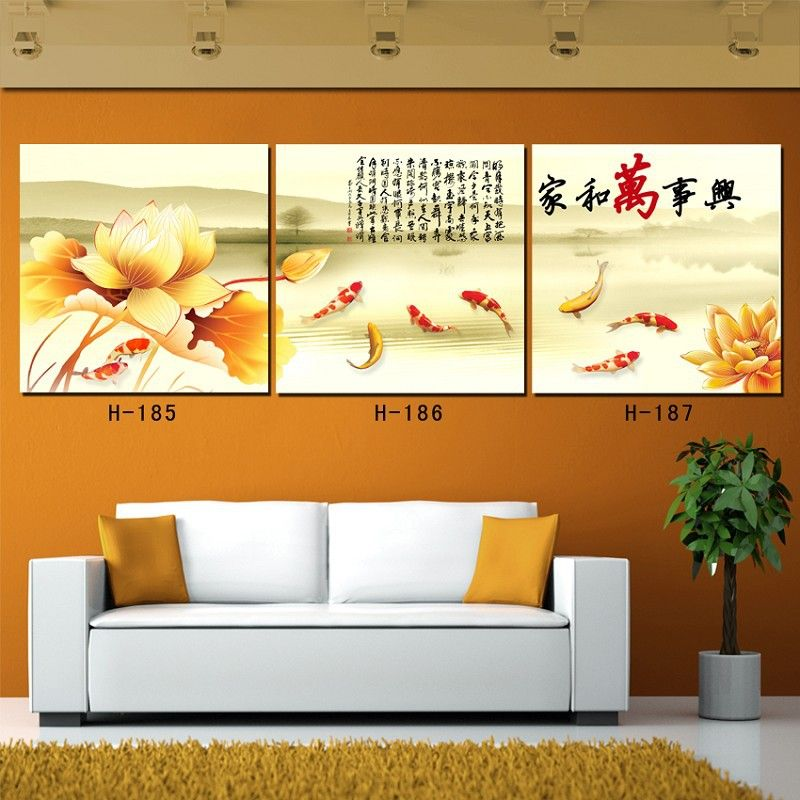 Free shipping 3 piece art sets Canvas paintings Koi fish wall art ...