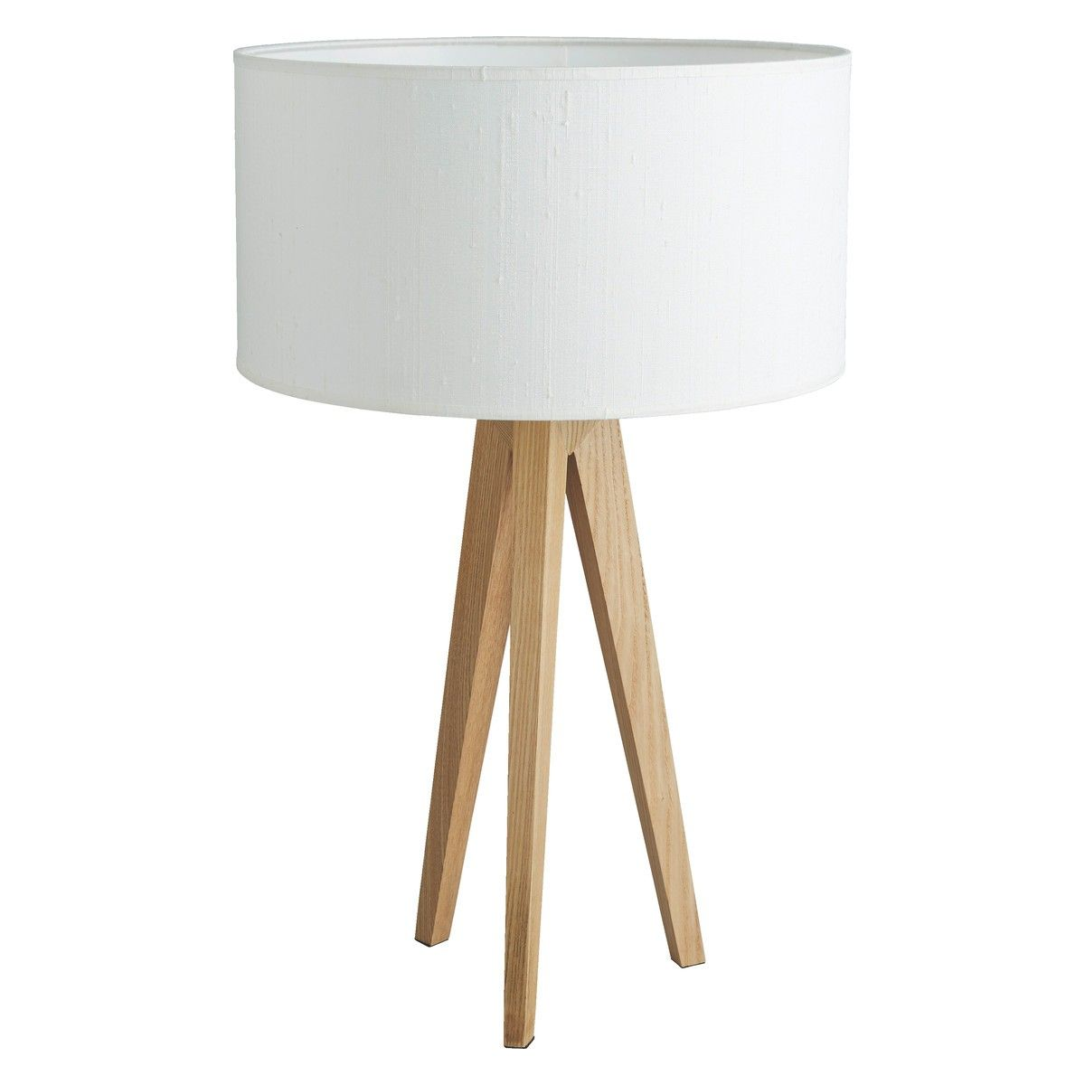 Tripod Ash Wooden Table Lamp With White Silk Shade Wooden Table Lamps Wooden Bedside Lamps Lamp
