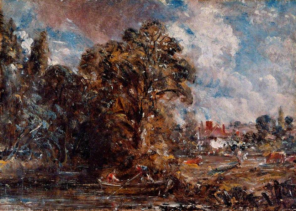John Constable - A River Scene with a Farmhouse near the Water's Edge