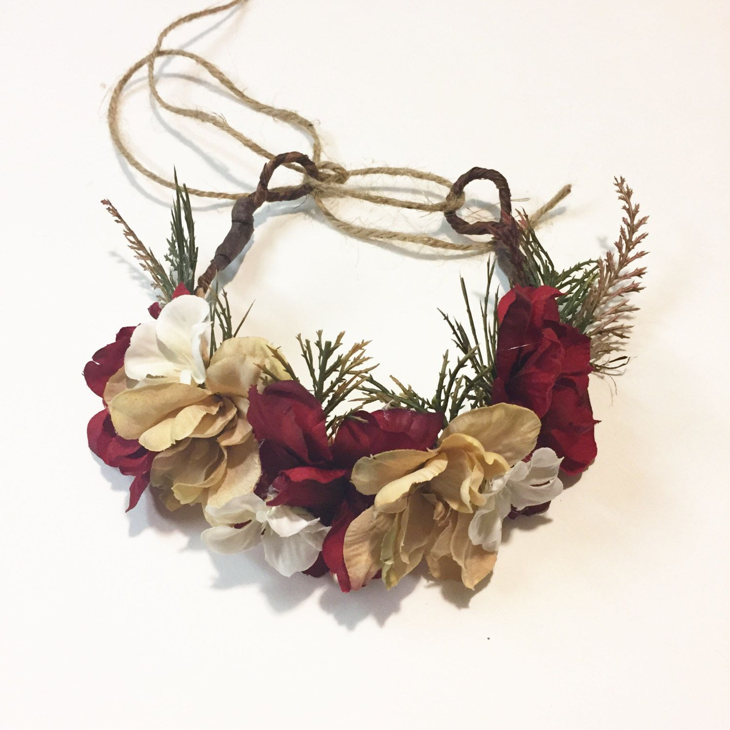 Red cream and tan crown flower halo holiday flower crown red cream and tan crown flower halo holiday flower crown flower halo izmirmasajfo