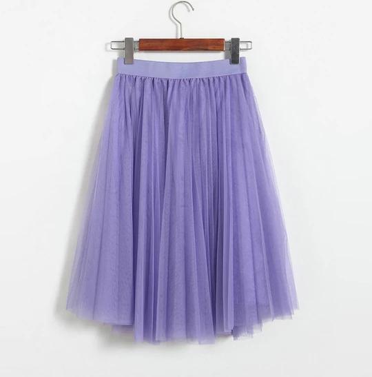 ELEXS Autumn Tulle Skirts Womens Winter Tulle Skirt Elastic High Waist Pleated Midi Skirt Three Layers E7933 #mittellangeröcke