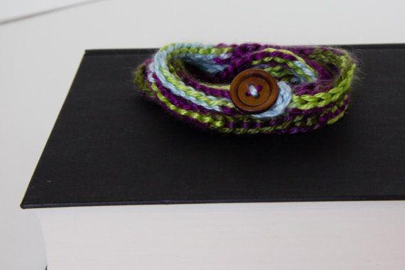 Crochet wrap bracelet with wooden button $10
