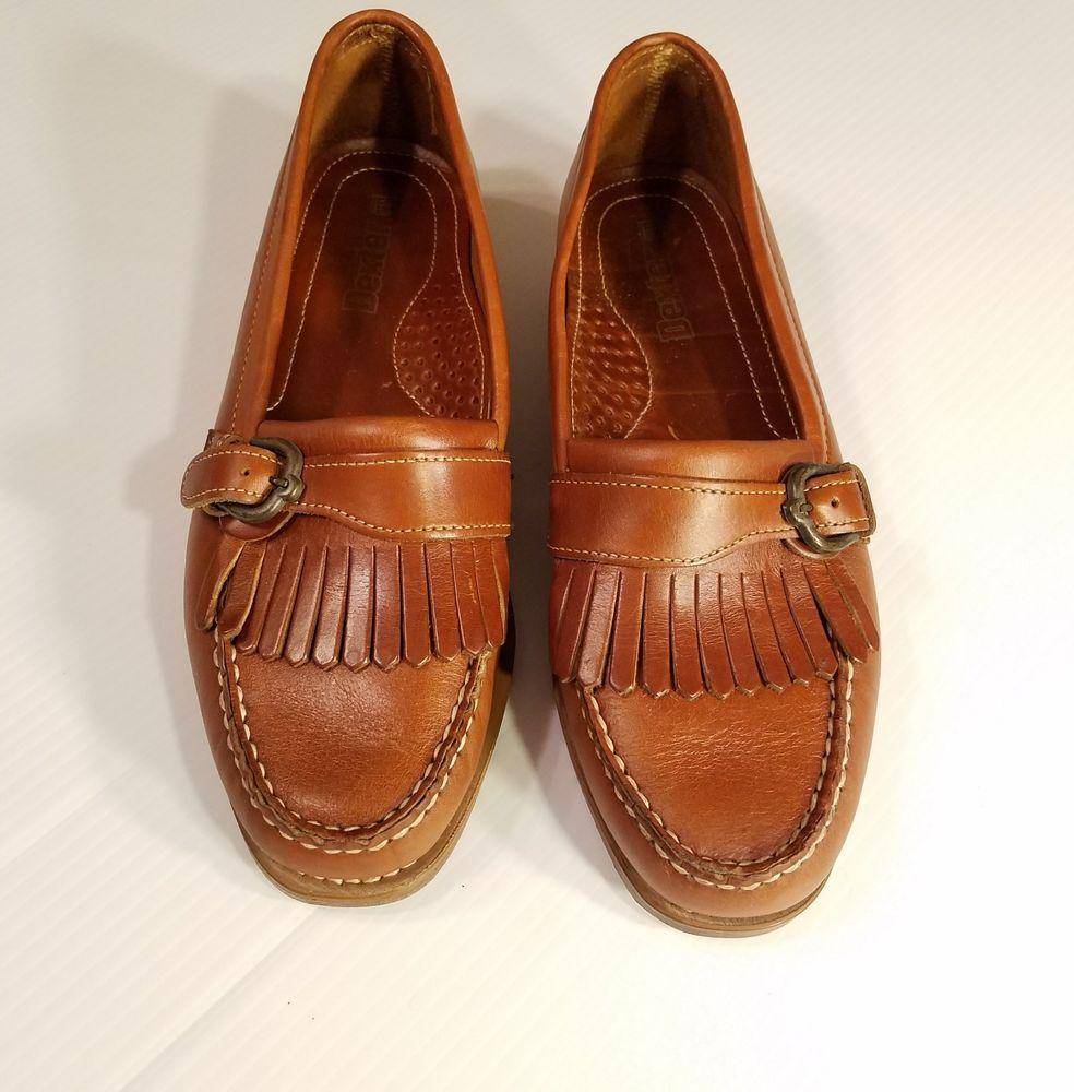 6d5d117c058ee Dexter Brown Leather mens sz 10 kiltie fringe loafer buckle strap ...