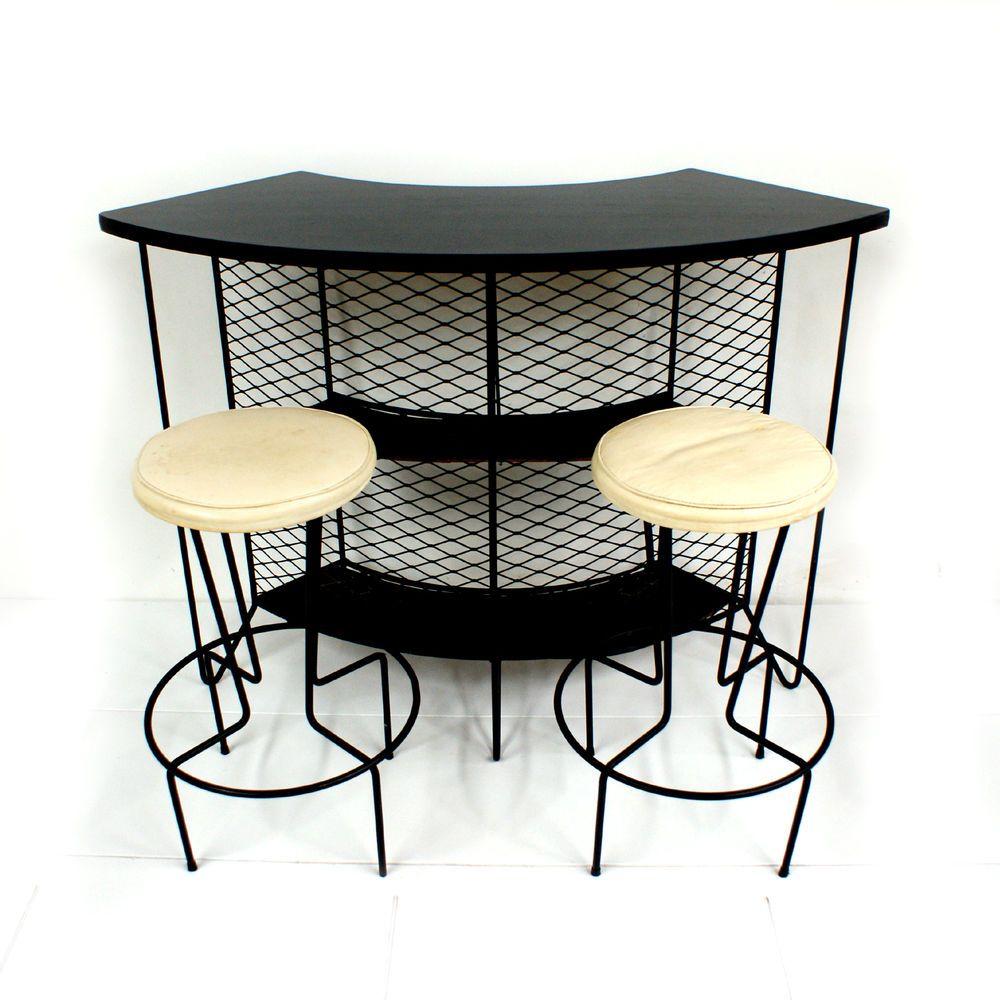 s Weinberg Wrought Iron Cocktail Bar 2 Bar Stools Mid Century Modern Patio