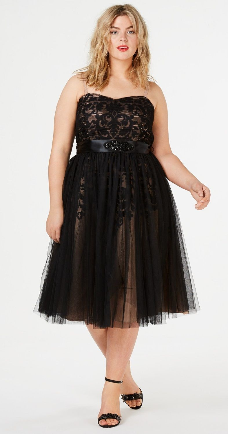 36ccfade6db Plus Size Tulle Overlay Party Dress  plussize