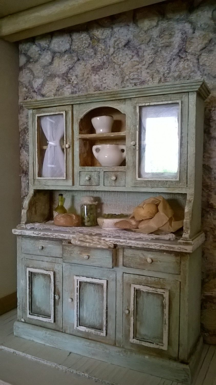 Kitchen cabinets for dollhouse - Miniature Dollhouse Kitchen Shelf Miniature Kitchen Cabinet By Lecreazionidinadia On Etsy