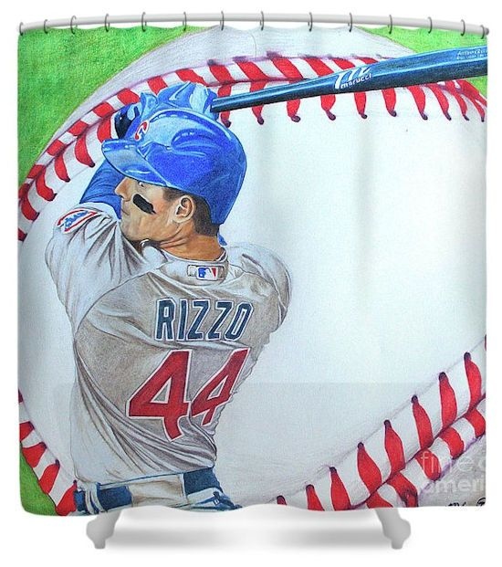 Anthony Rizzo Chicago Cubs Artistic Baseball Shower Curtain Home