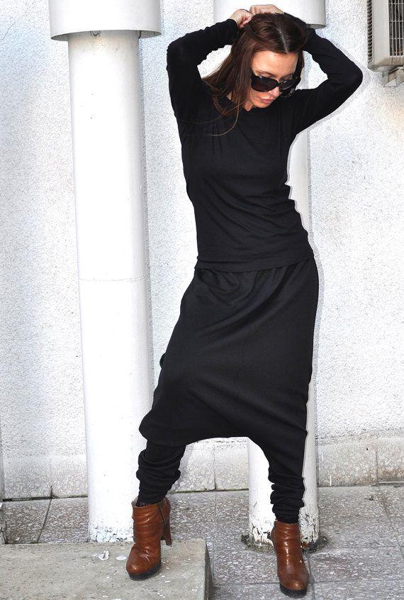 Sciolto Casual Nero Drop Crotch Harem Pants Pantaloni Neri