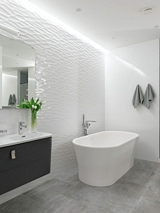 design salle de bains moderne blanche avec mur en relief 3d - decoration salle de bain moderne