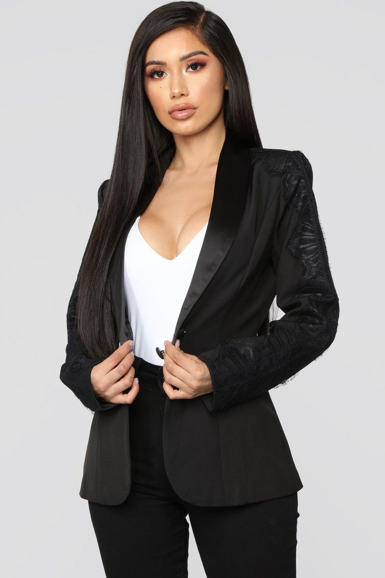 She Means Business Lace Trim Blazer Black Fashion nova