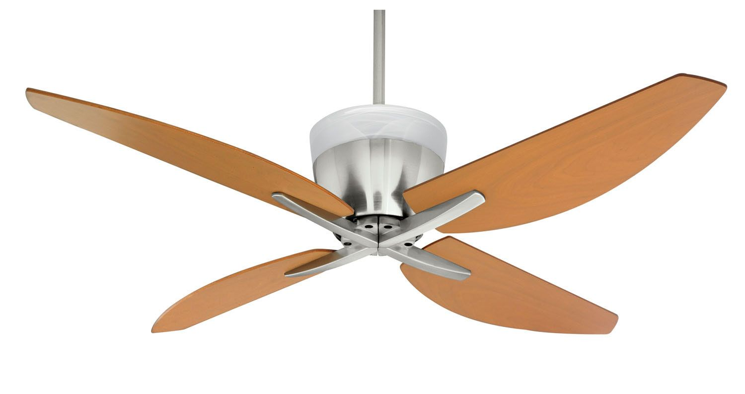 Regency Four Light Ceiling Fan Kit Strong Geometric Shapes Sweeping Curved Blades And A Soft Diffused Uplight