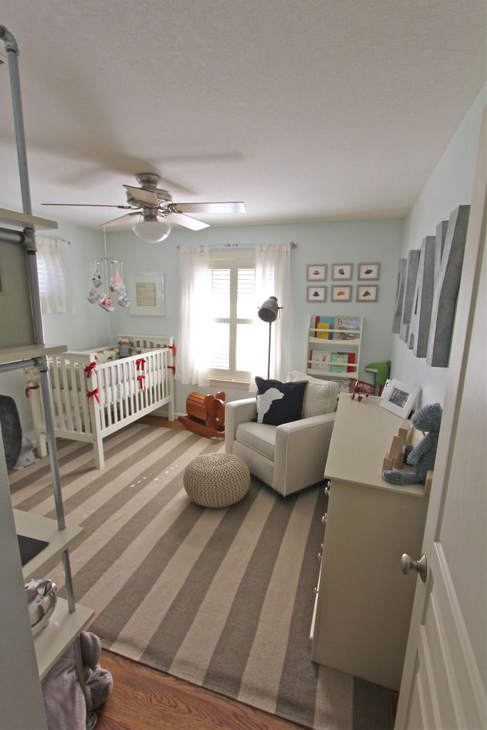 boy nursery, large letters, stripe rug, pops of red... so cute