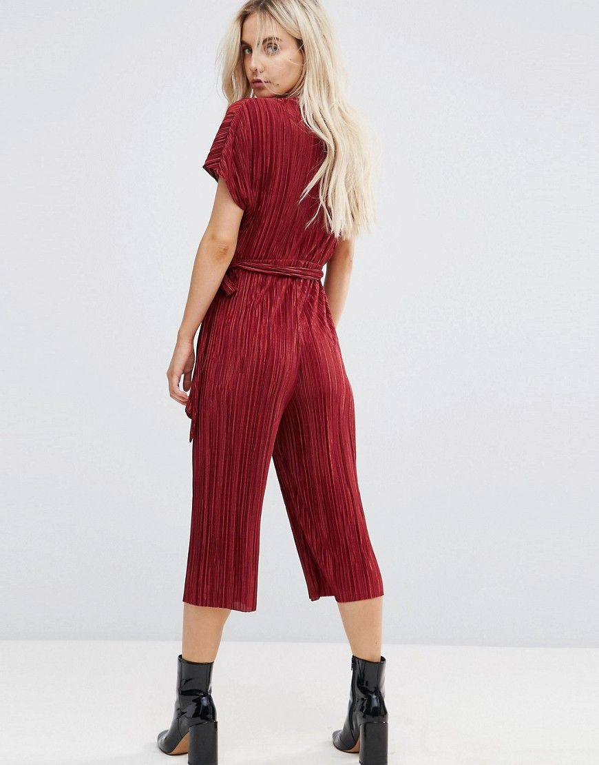 da21068ac8d New Look Petite Plisse Wrap Culotte Jumpsuit - Red
