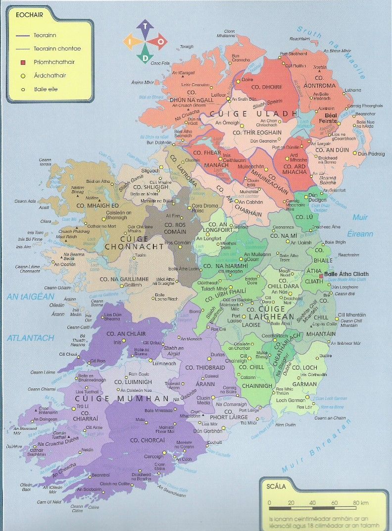 Map Of Ireland With Counties And Towns.Contaetha Na Heireann Ireland Geography Homework Links You Can