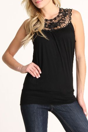 tank top with lace trim (comes in different colors)  from: www.beyondtherack.com