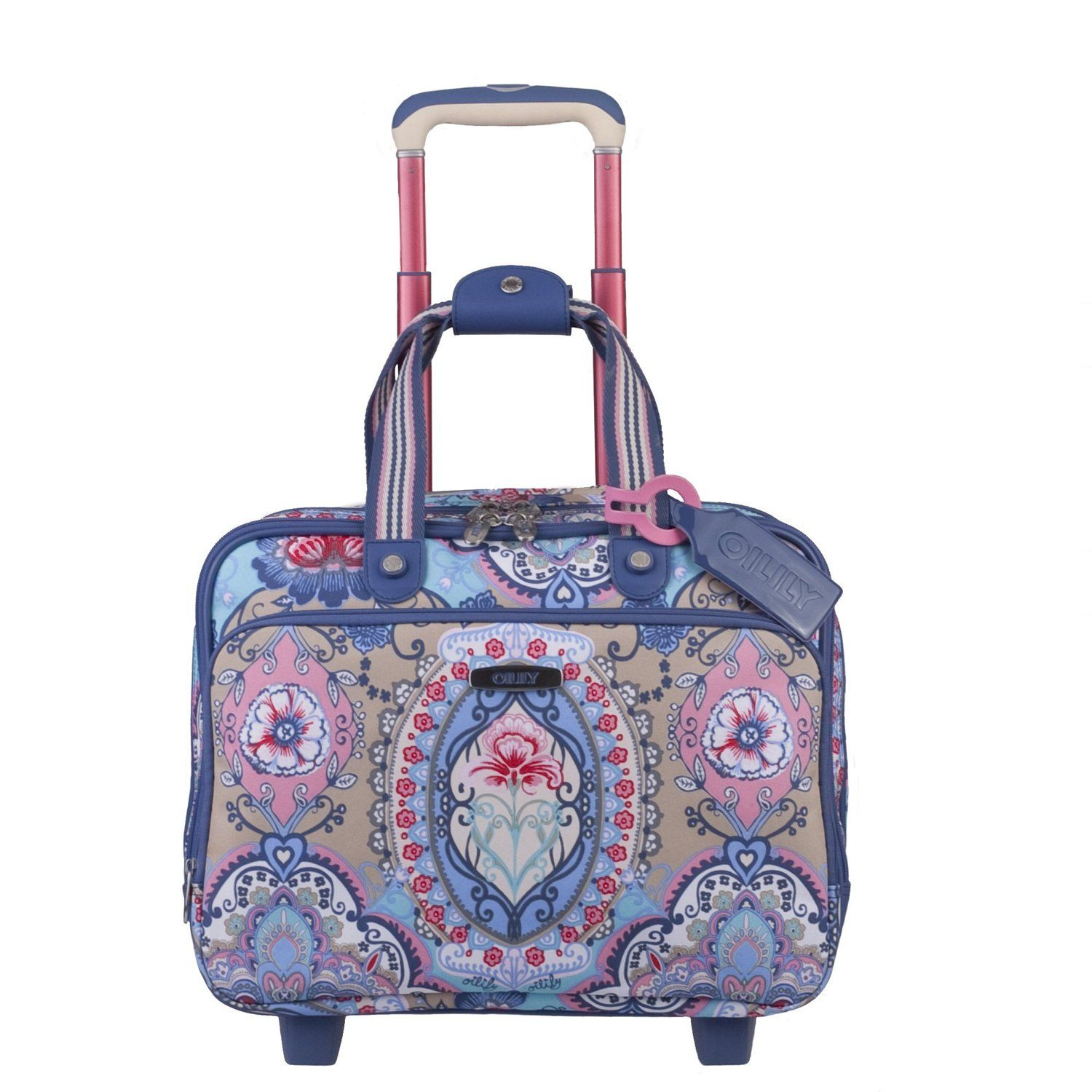 Amazon.com  Oilily Travel Lotus Office Bag on Wheels in Blue  Shoes ... 97ab53ca74