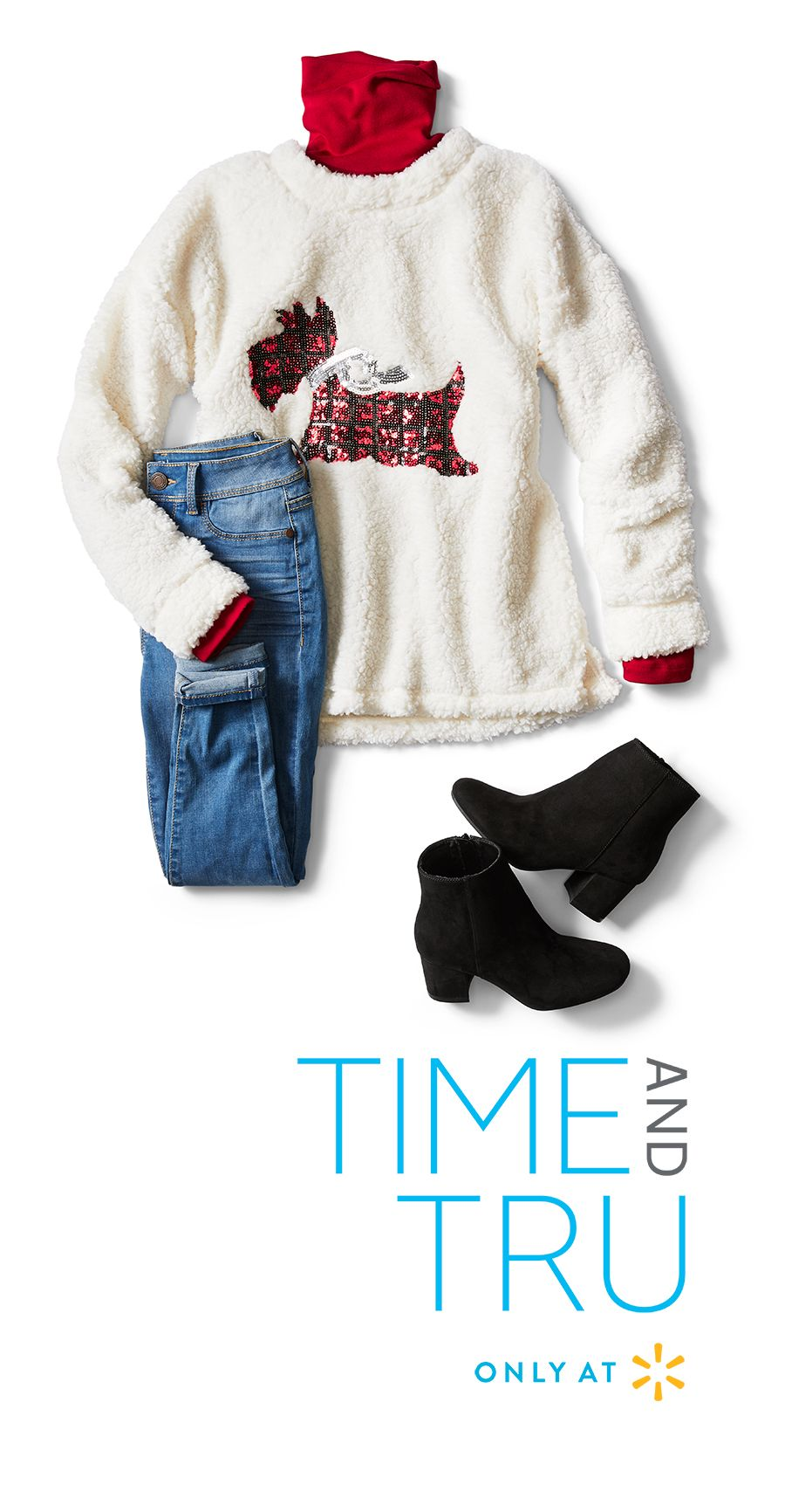f0e891577a You ll be comfortable in any setting wearing this soft Sequin Scottie Dog  Long Sleeve Sherpa Sweater and jeans. Keep warm in a classic ...
