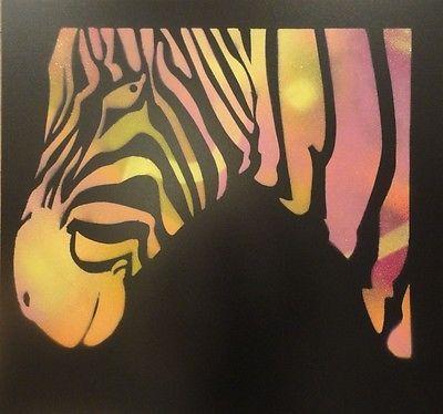 Acrylic-Spray-Paint-Art-Animal-Zebra-Black-and-Multicoloured-Graffiti