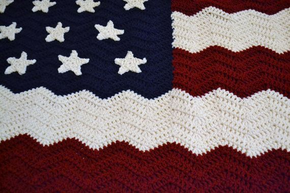 Crochet Afghan Blanket American Flag Red White Blue Patriotic Ripple