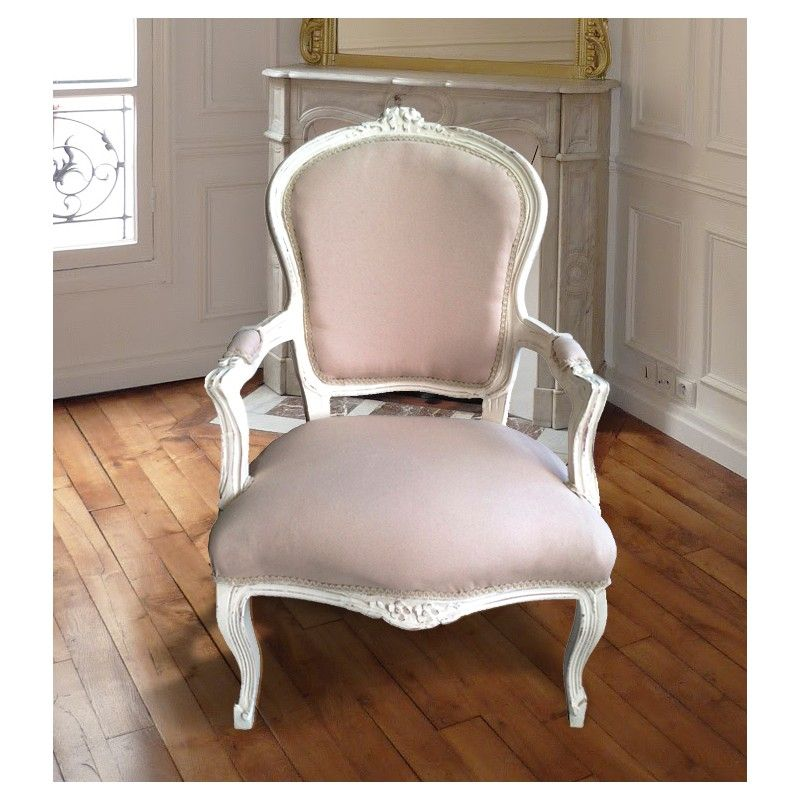 fauteuil de style louis xv tissu couleur lin beige et bois beige patin fauteuils pinterest. Black Bedroom Furniture Sets. Home Design Ideas