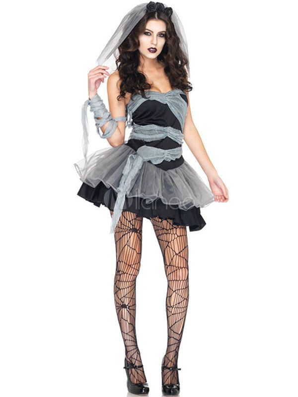 Halloween Gothic Corpse Bride Dress Sexy Strapless Sweetheart ... 8171fc75756b
