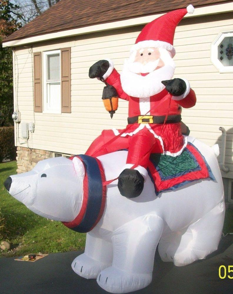 Huge 8 Ft Gemmy Airn Inflatable Santa Riding Polar Bear Christmas Yard Decor
