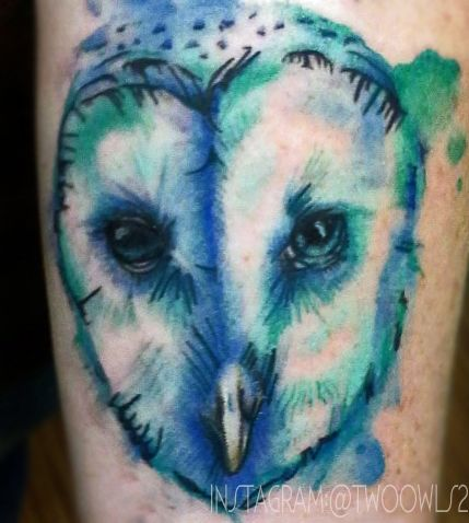 Watercolor Tattoo Owl By Amber Duarte Blue Green Watercolor