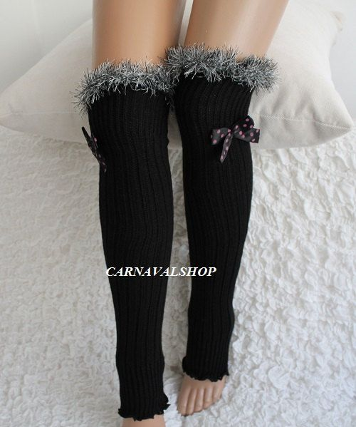 7d17e0a0a3c2b Black Leg Warmers Grey fur Women Socks Fashion accessories Winter socks  Christmas Gift For her