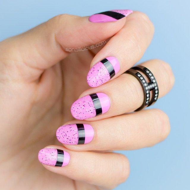 Mixed Media nails with striping tape    Pink nails    2 Easy Nail Designs - 2 Mixed Media Easy Nail Designs [NAIL ART TUTORIAL] Pink Nails