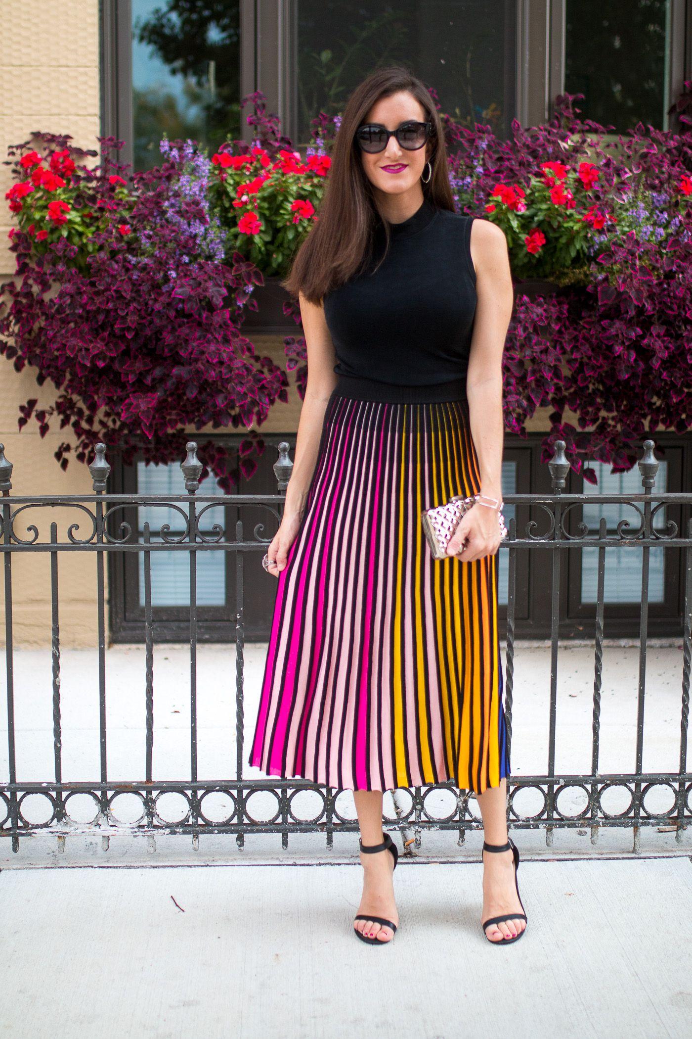 ba19ee55cf Striped Midi Skirt with Rainbow Stripes Kenzo   Fashion   Midi skirt ...