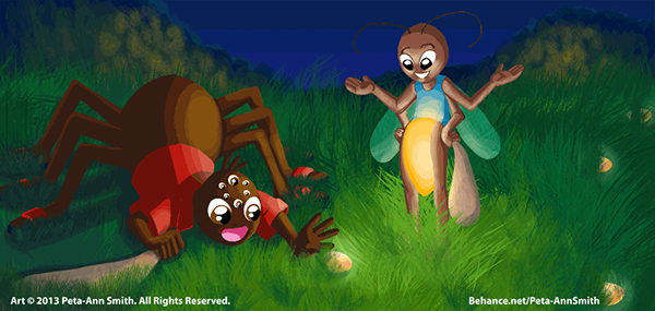 """""""Anansi and Firefly"""" - One of two illustrations I did for an international calendar project."""