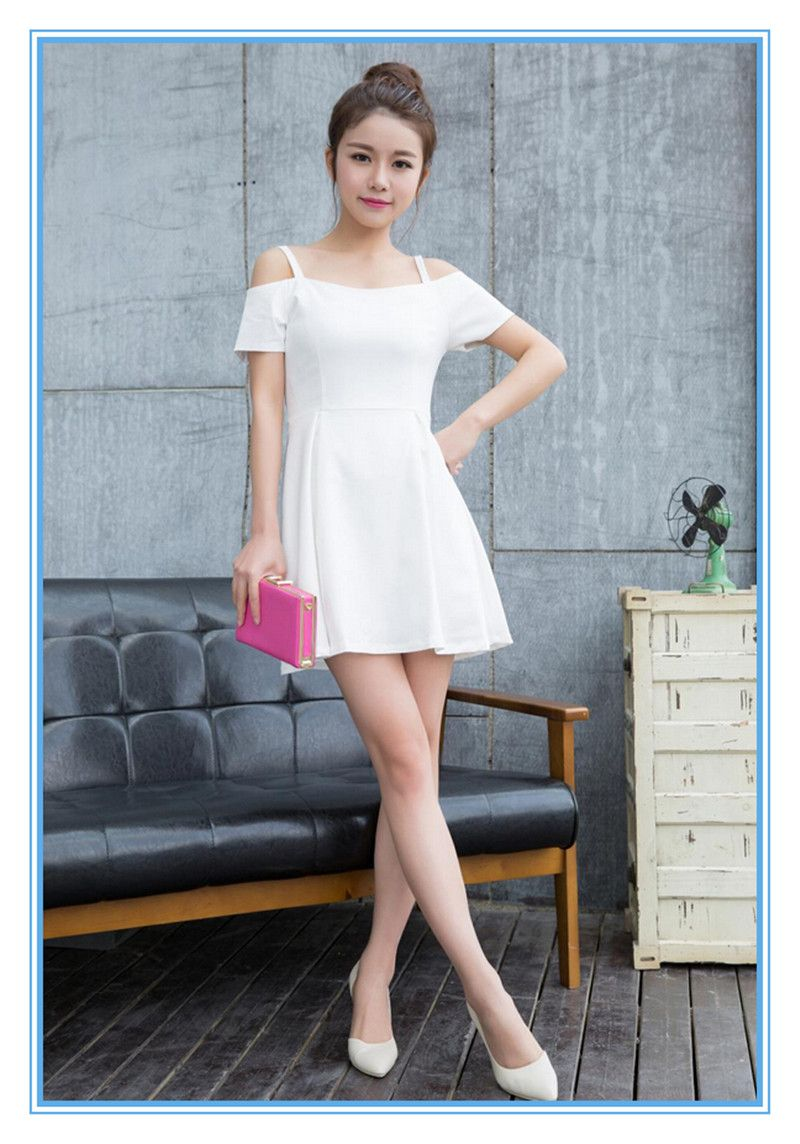 Black Red White Solid Color Slim Latest Party Wear Dresses For Girls ...