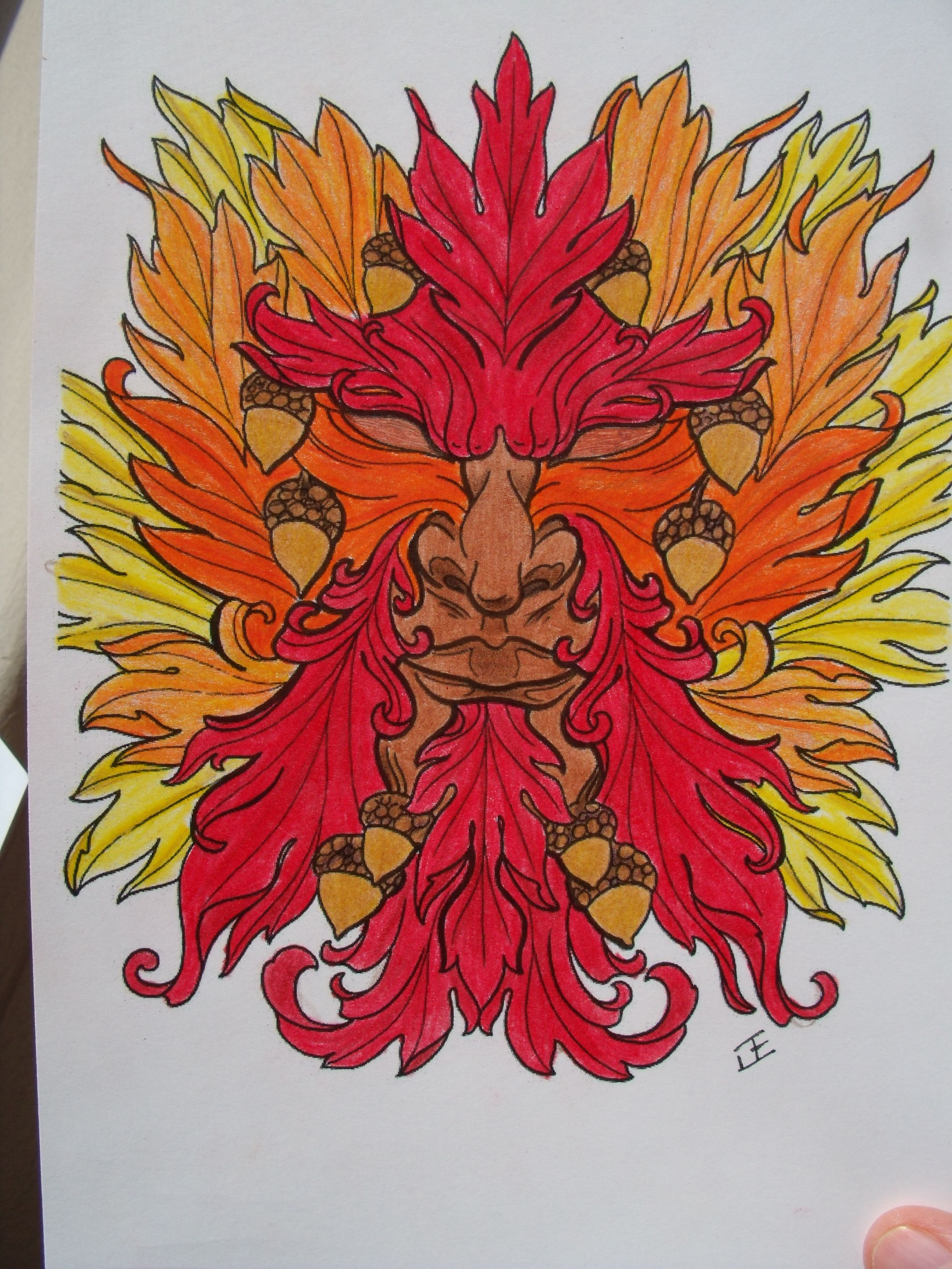 Autumn Man Art from Floral Tattoo Designs Coloring Book