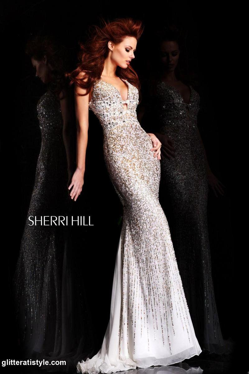 Sherri hill whitegold gown reception dresses pinterest