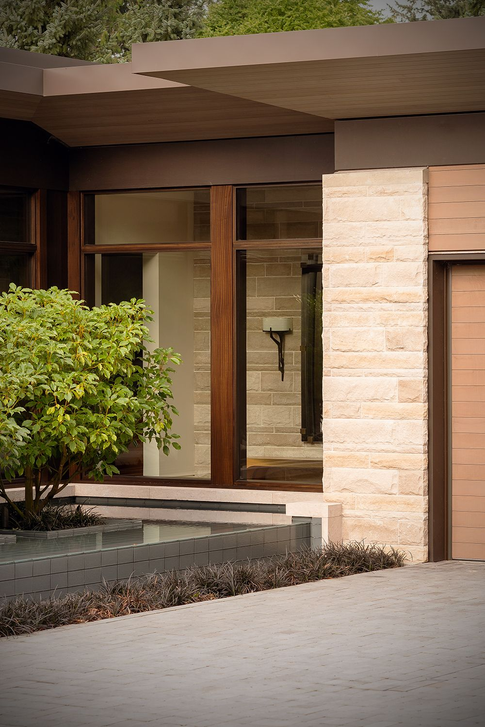 Veneer Stone Home Patio Paver Driveway Landscaping Front Door Entrance Stone Houses Rustic Exterior Building Stone