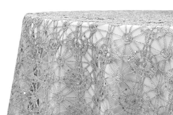 Chemical Lace 90 X90 Square Table Overlay Silver Lace Table