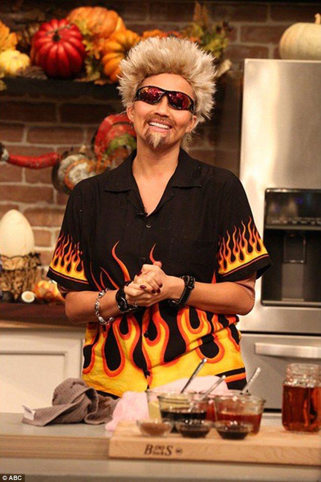 chrissy teigen dresses up as guy fieri for fablifes halloween special guy fierihalloween outfitshalloween costumesfood networkfacial hair facialswigscelebs - Halloween Costumes With Facial Hair