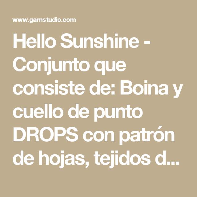 Hello Sunshine - Conjunto que consiste de: Boina y cuello de punto ...