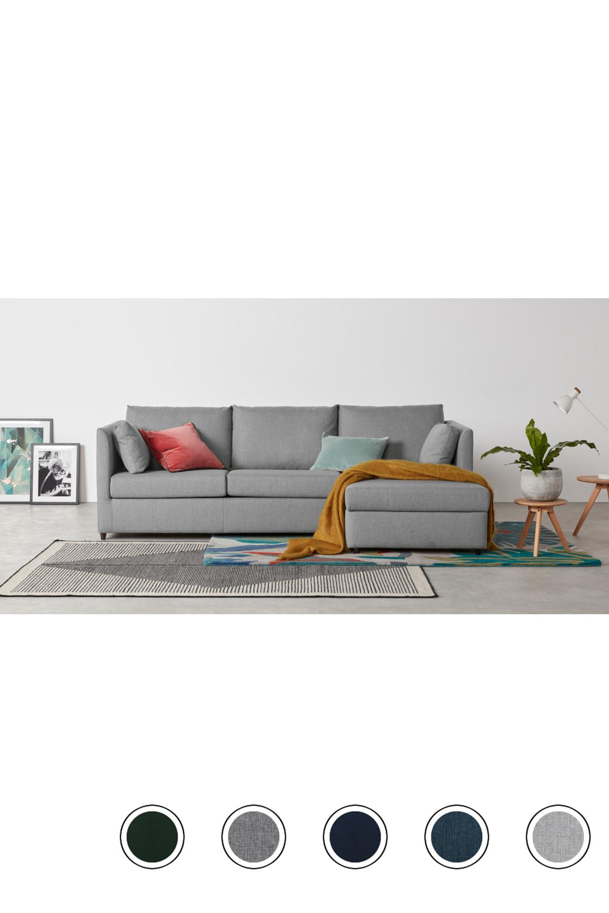 Milner Right Hand Facing Corner Storage Sofa Bed With Foam Mattress Granite Grey Grey Corner Sofa Bed Sofa Bed Living Room Sofa Bed Design