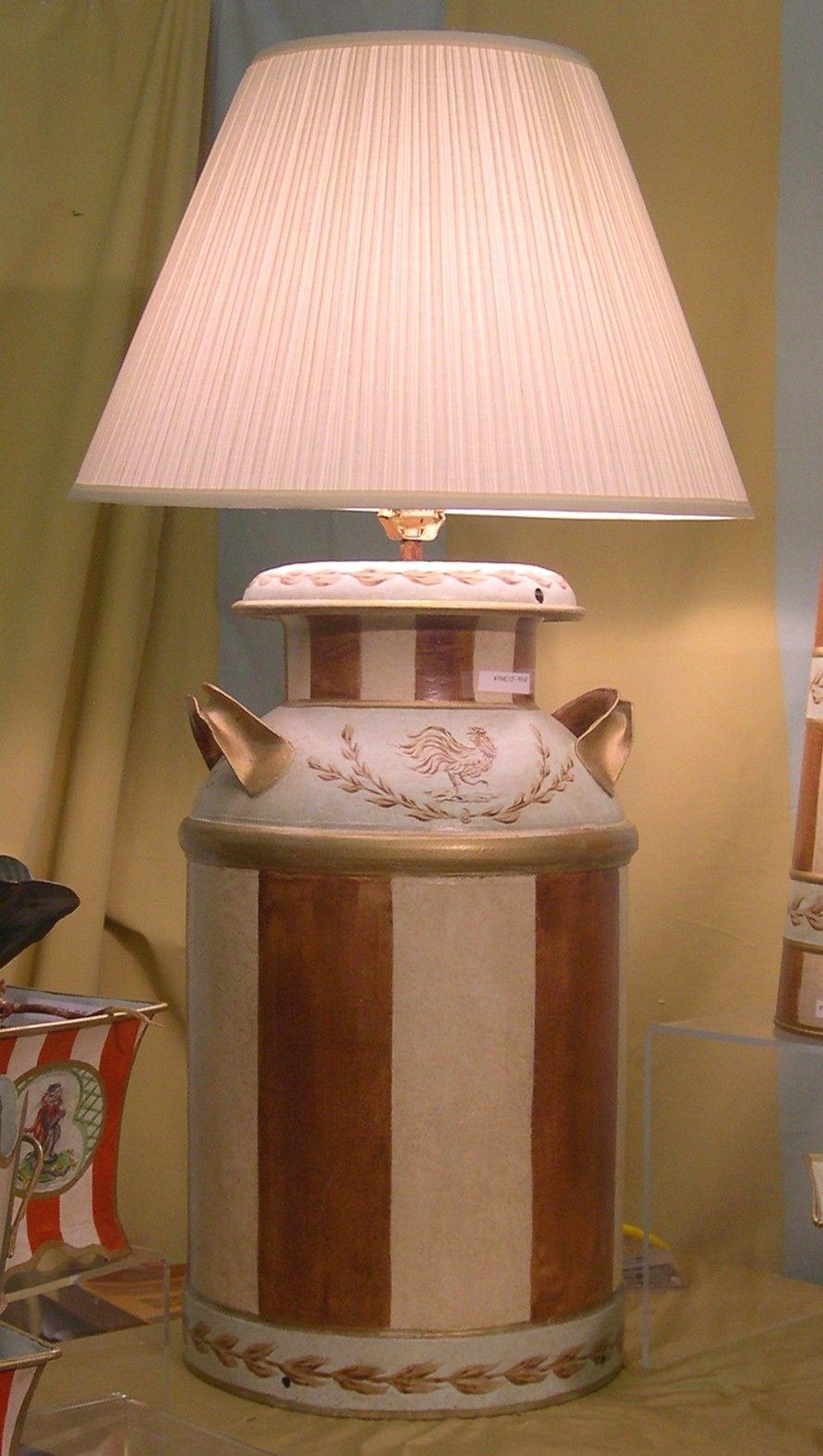 Vintage Milk Can Lamp In Brown Balloon Hand Painted Tole Porterstarrltd Houseofbern Lamparas Artesanales Decoracion De Muebles Muebles Pintados A Mano