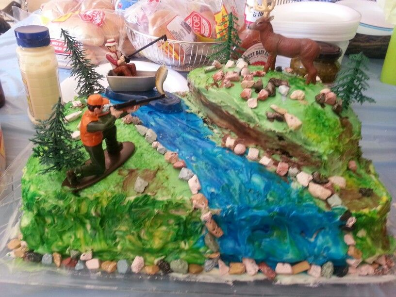 Hunting and fishing cake finished My kitchen creations