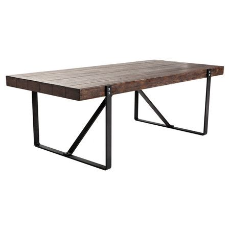 Planked Wood Dining Table With Metal Banding And Riveted